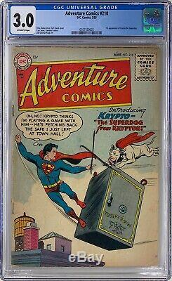 ADVENTURE COMICS #210 CGC 3.0 OWP First Appearance of Krypto 1955 DC Comics
