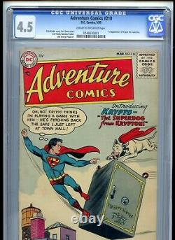 Adventure Comics #210 CGC 4.5 CROW Pages 1st Krypto Clean Bright Book