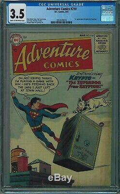 Adventure Comics #210 Cgc 3.5 1st Appearance Of Krypto! Cr-ow Pgs 1955