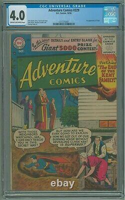 Adventure Comics # 229 CGC 4.0 VG 1st Appearance of Topo 1956 Curt Swan Cover