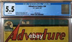 Adventure Comics #50 CGC 5.5 WHITE PAGES DC, Hourman, Scarce, May 1940