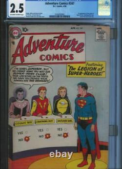 CGC 2.5 ADVENTURE COMICS #247 1ST APP THE LEGION OF SUPER-HEROES OWithWHITE PAGES