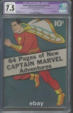 Captain Marvel Adventures #1 Restored CGC 7.5 OWithWhite Pages C. C. Beck cover